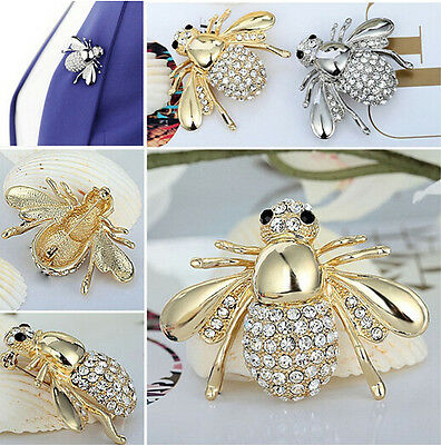Hot Selling Girl's Charming Chic Bee Rhinestone Crystal Brooch Pin For Gift