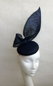 Image is loading Navy-Bow-Wedding-Fascinator-Navy-Fascinator -Pillbox-Hatinator- 10dcbccfddc
