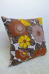 """Retro Fabric Cushion Cover, 60s/70s 16"""" Vintage Brown Floral Yellow"""
