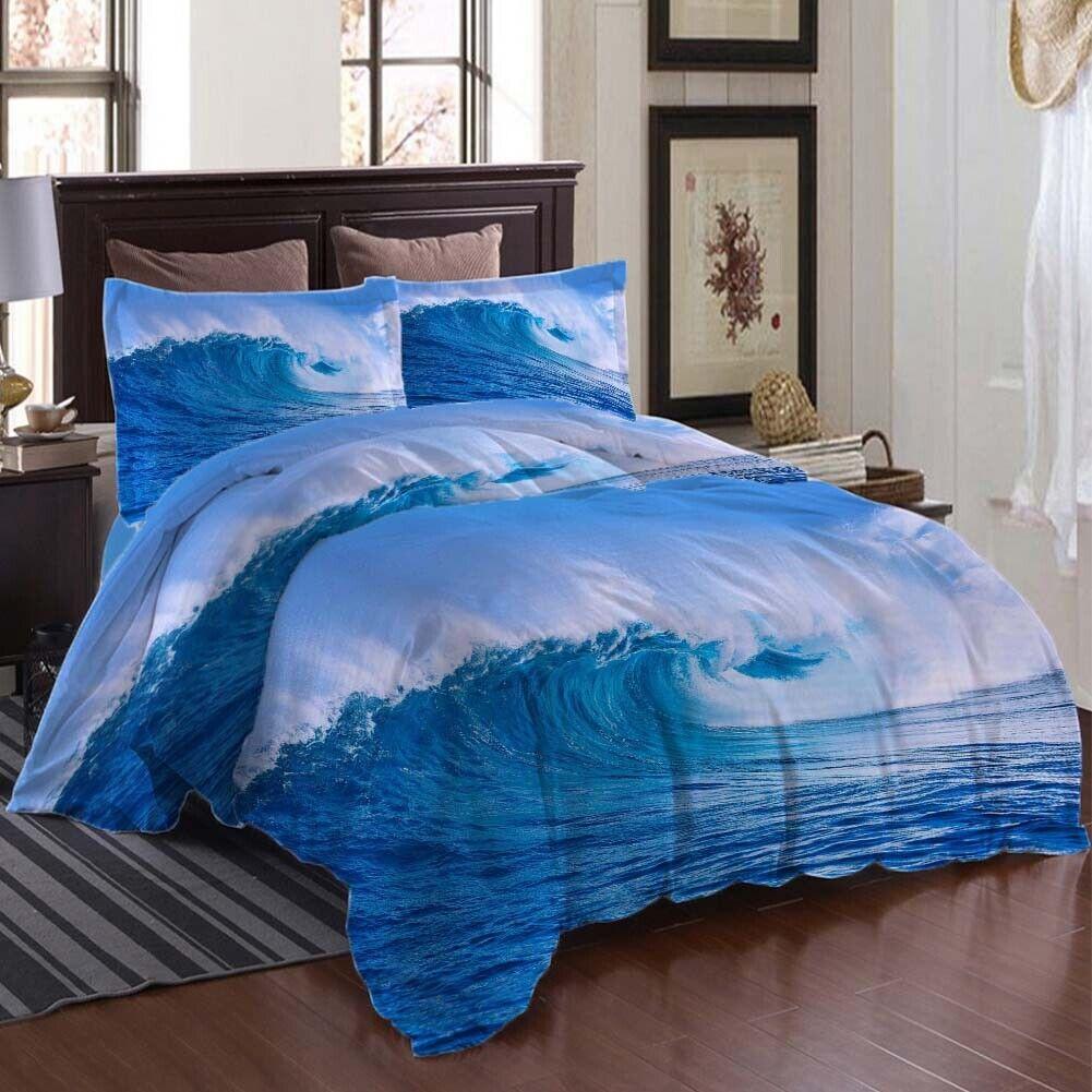 Blau Lifts Waves 3D Druckening Duvet Quilt Will Startseites Pillow Case Bettding Sets