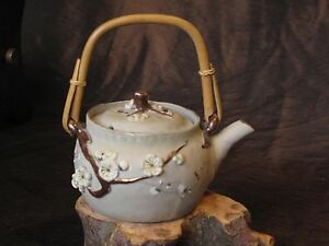 Antique Japanese Banko Glazed Clay Porcelain Enamel Teapot