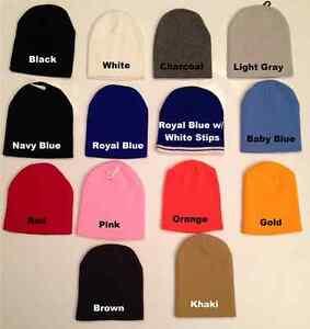 cb64a89fb33b4 Short Beanie Plain or Customize Ski Knit Cap Cuff Men Women in ...