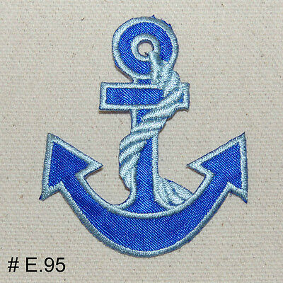 1PC~WHITE NAUTICAL ANCHOR~IRON ON EMBROIDERED PATCH
