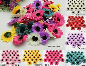 50 100pcs sunflowers daisy 3 inch artificial silk flower heads image is loading 50 100pcs sunflowers daisy 3 inch artificial silk mightylinksfo