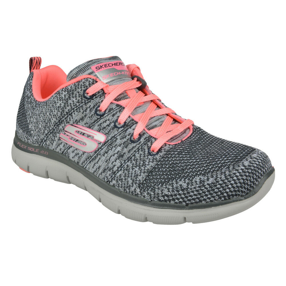 NUOVO Skechers Sneaker Donna Training MEMORY FOAM FLEX APPEAL 2.0 - High Energy Grigio