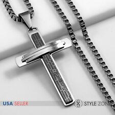 Men's Stainless Steel Bible Scripture Black Cross Pendant Square Box Necklace 2A