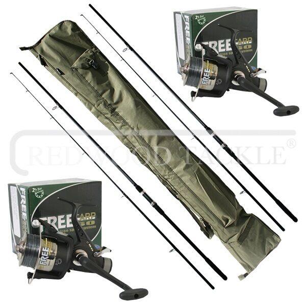 Carp Rods X 2 & FreeSpool Reels +Line X 2 & 3+3 Carp Rod holdall Fishing