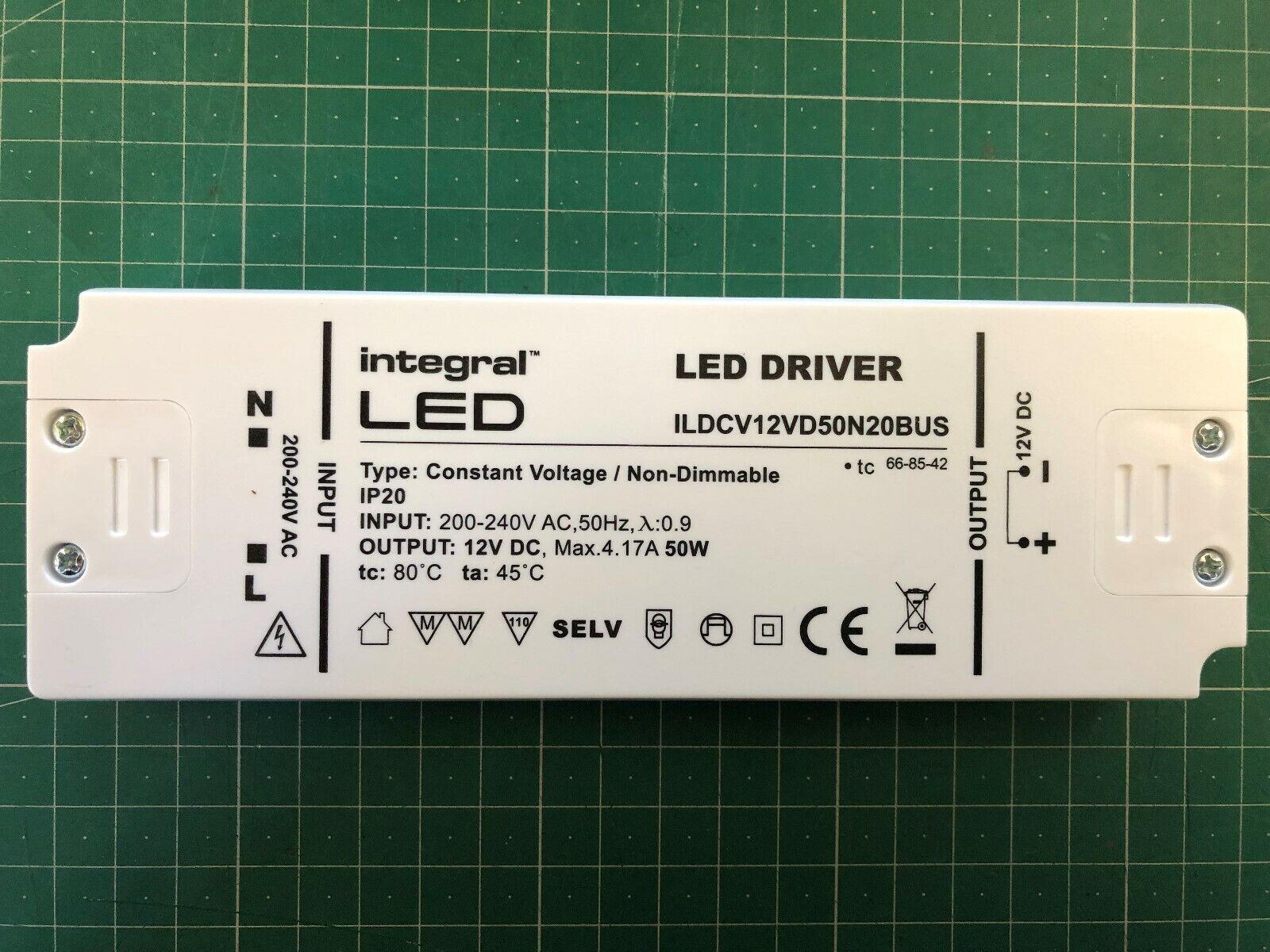 INTEGRALE LED 50 watt tensione costante costante costante Driver LED, 200-240VAC a 12VDC, non-DIMM 50ea14