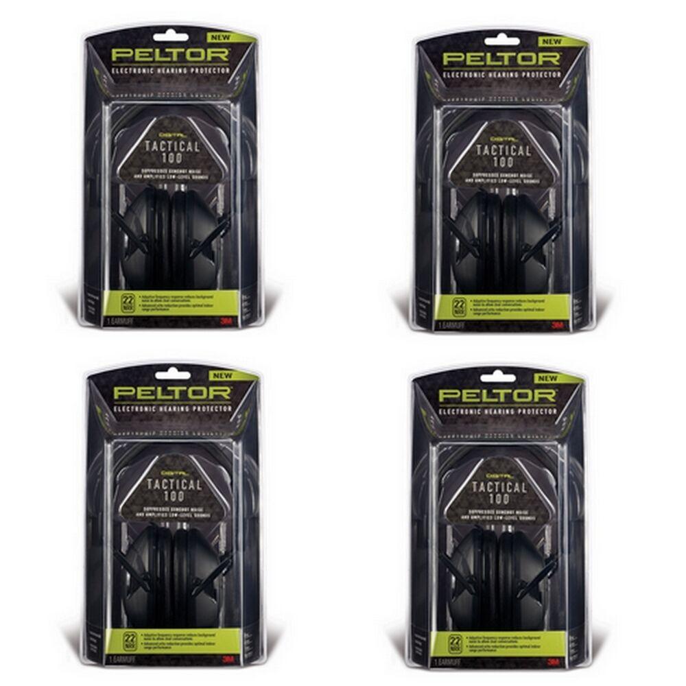 Lote x4 Peltor Tactical 100 Orejeras 22db (NRR) Projoector de audición 3M-TAC100