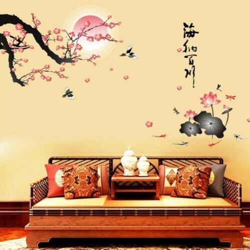 Japanese Cherry Blossom PVC Wall Sticker Home Living Room Bedroom DIY Art Decal