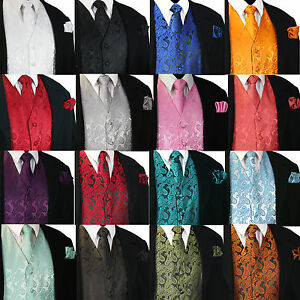 NEW-Men-039-s-Paisley-Design-Dress-Vest-and-Neck-Tie-Hankie-Set-For-Suit-or-Tuxedo
