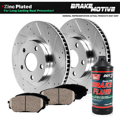 Front 2 Cross Drilled Rotors and 4 Ceramic Pads for 1998-1999 Pontiac Bonneville
