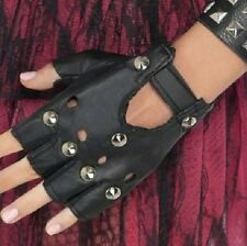 Mens Ladies 80s 1980s 80's Punk Stud Gloves Leather Look Black New by Smiffys.