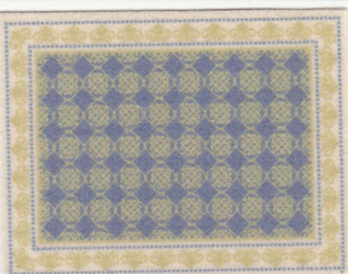 "Dollhouse Miniature Gold /& Blue Small Accent Rug 2 1//4/"" x 1 3//4/"" RG471"