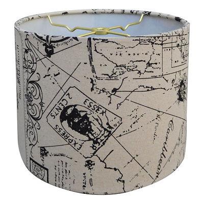 Royal Designs Linen Eggshell and Black Vintage French Print Hardback Lamp Shade