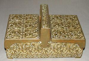 Beautiful-Antique-German-Hand-Hammered-Tobacco-Cigarette-Brass-Box