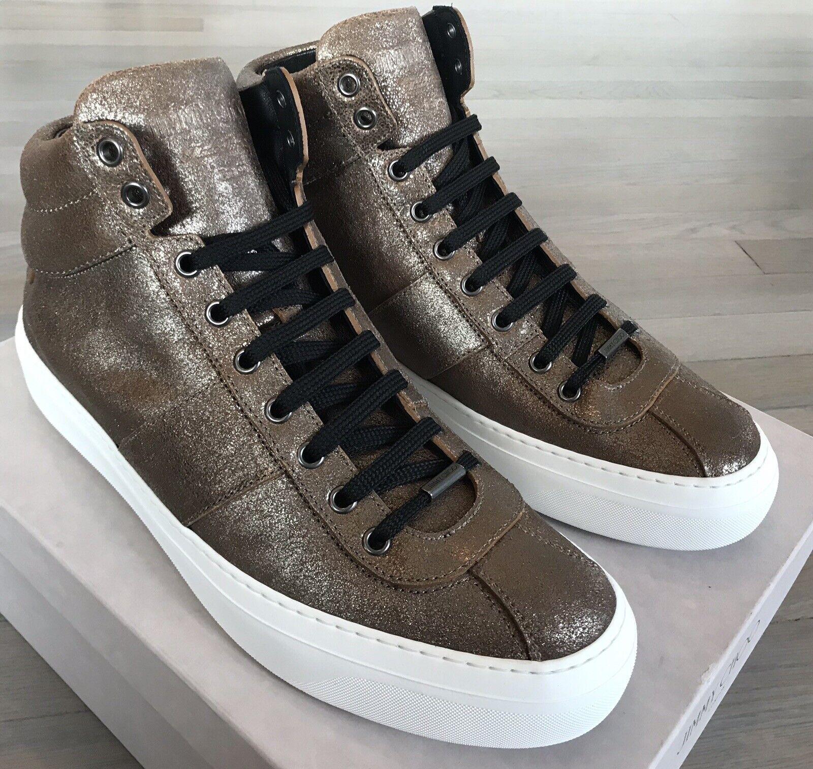 750  Jimmy Choo Belgravi Gunmetal High Tops Sneakers size US 12, Made in