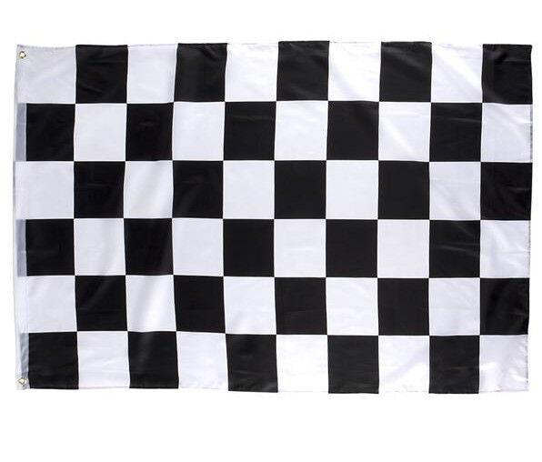 "2 CHECKERED FLAG 3 X 5 FEET 36"" X 60"" NASCAR RACING BLACK AND WHITE FLAGS BANNER"