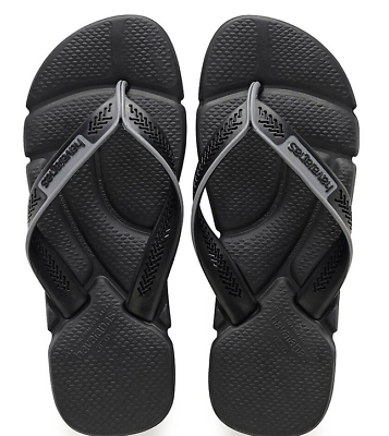 67e3eef2b54 Havaianas Men`s Brazilian Flip Flops Power Sandals Black Steel Grey Any Size  NWT