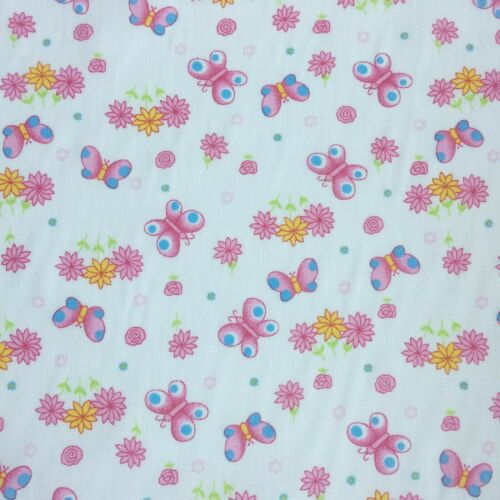SOLD PER METRE Polycotton Fabric Flower Floral GIRLS  Butterfly Material CRAFTS