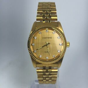 Lindenwold-Mens-Quartz-Gold-Tone-amp-White-Crystal-Stainless-Steel-Band-Watch