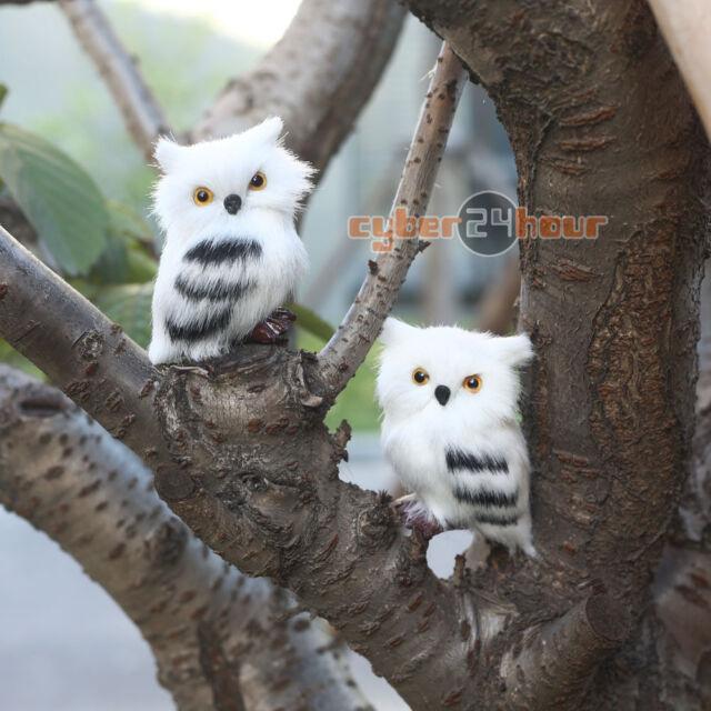 2pcs owl white furry christmas ornament home decoration cute adornment gift