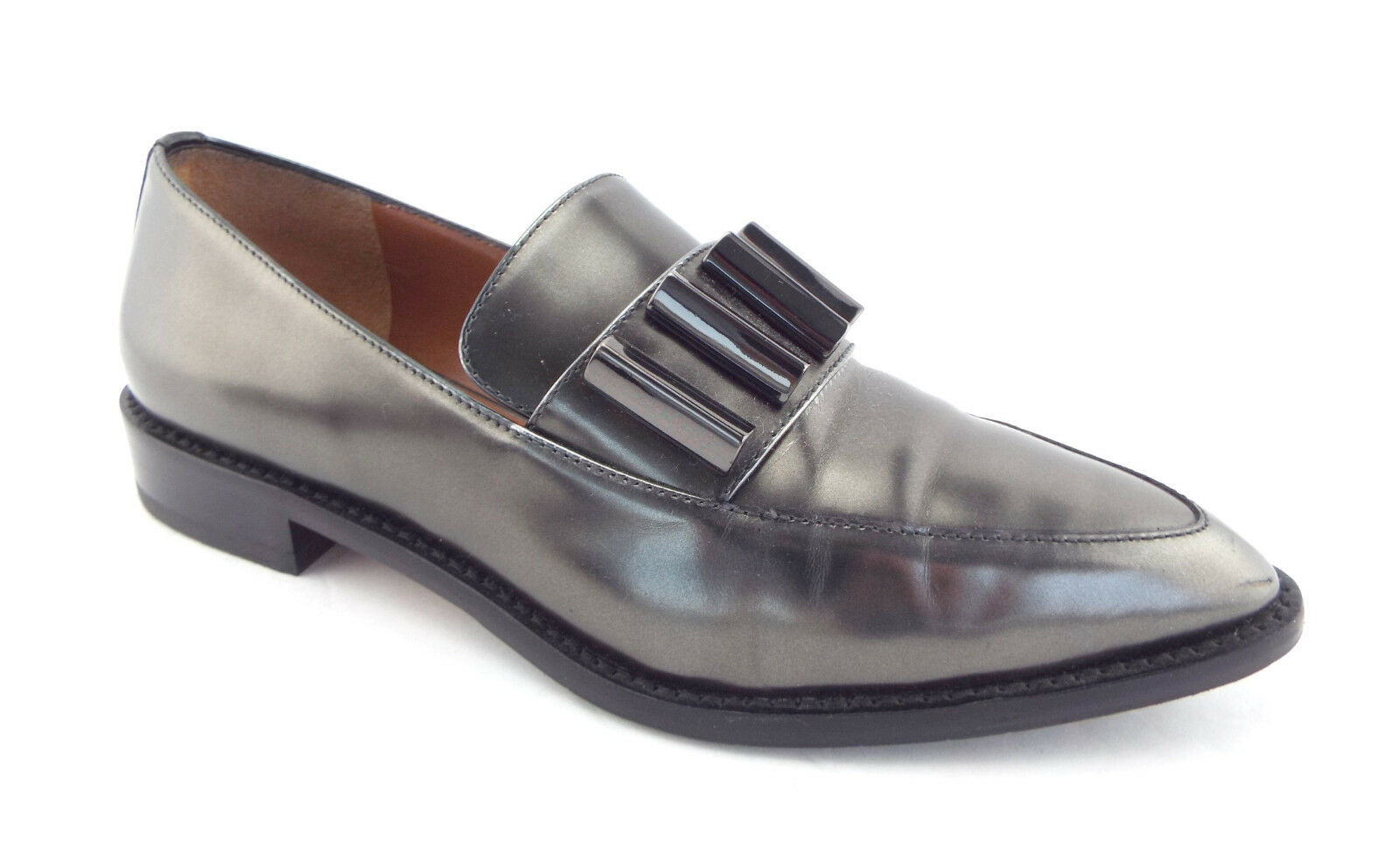 AQUATALIA AQUATALIA AQUATALIA Size 6 GWENDOLYN Pewter Metallic Loafers Flats Shoes 117ffc