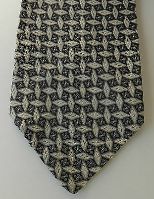 Moss Bros English tie Grey white geometric All Silk vintage 1950s 1960s floral
