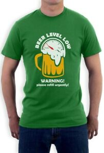 ed401ed69 Beer Level Low Warning Funny Drinking Party T-Shirt St Patrick's Day ...