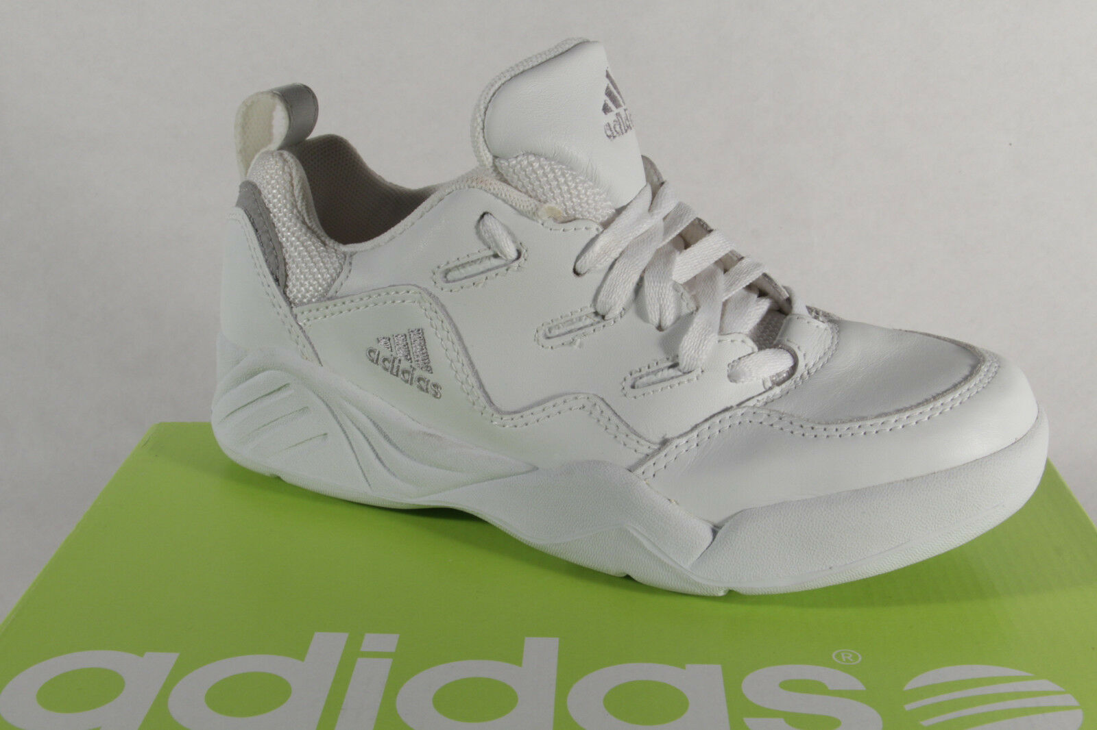 Adidas Tennis shoes Lace up Trainers Real Leather White New