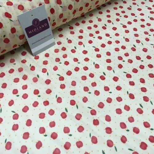 Crema y Rojo Apple Tela Impresa Vestido de Gasa Crepe 150 cm MK1190-34