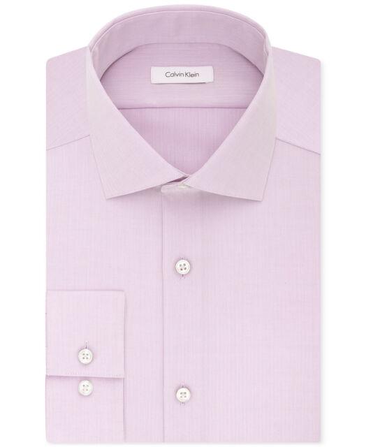 IRON SPREAD COLLAR DRESS SHIRT 15.5 32 DARK PINK HERRINGBONE NWT KIRKLAND NON