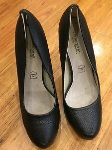 Vanessa-High-Heels-Platform-Black-Leather-Shoes-Size-39-As-New