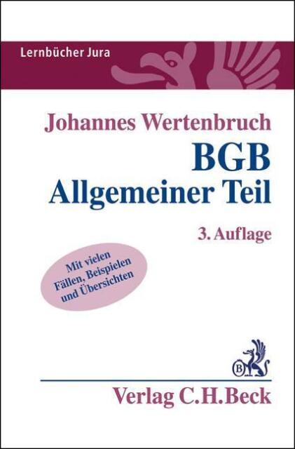 BGB Allgemeiner Teil von Johannes Wertenbruch (2014, Taschenbuch)