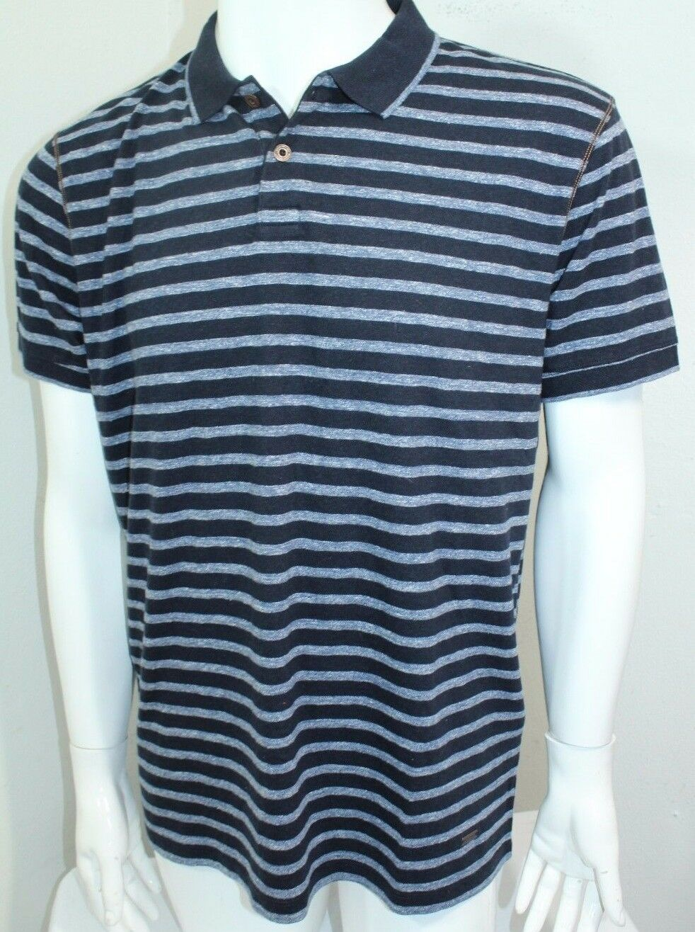 Hugo Boss Boss Striped Polo Shirt Farbe Blau  Sz Small NWT Pointout 101753