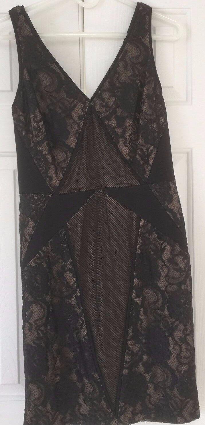 NWT Mignon Short Lace Dress schwarz and Nude damen Sleeveless Größe 4