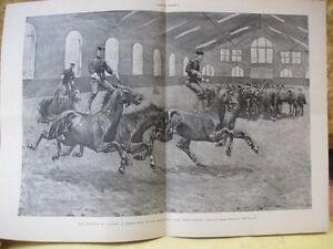 Vintage Print,TRAINING CAVALRY,Horse,Remington,Harpers,April 1898