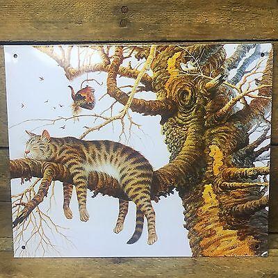 "Charles Wysocki Cat in Tree Tin Sign 6/"" x 9/"""
