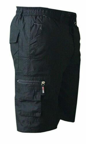 Mens Summer Plain Elasticated Cotton Shorts Lightweight Gym Cargo Combat Pants