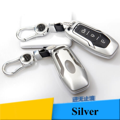 Car Silver FOB key case Remote Cover Shell Fit For Ford Mondeo Mustang Edge