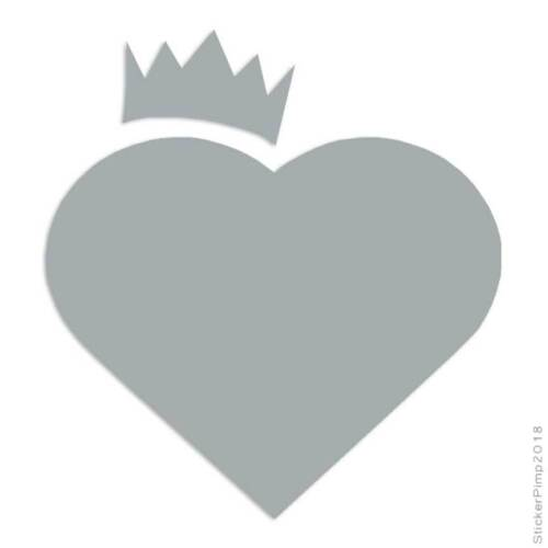 Size #544 Heart Crown Decal Sticker Choose Color