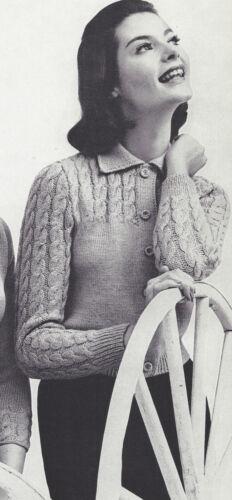 Vintage Knitting PATTERN to make Cable Yoke Cardigan Sweater Jacket CableYoke