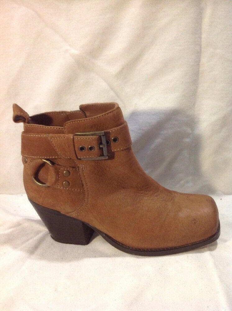 River Island Brown Ankle Leather Boots Size 4