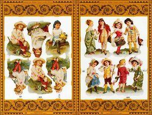 Mamelok-Golden-Victorian-Scraps-A23-A24-Children-039-s-Summer-Pleasures