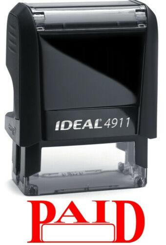RED INK PAID stamp text with Date Box on IDEAL 4911 Self-inking Rubber Stamp
