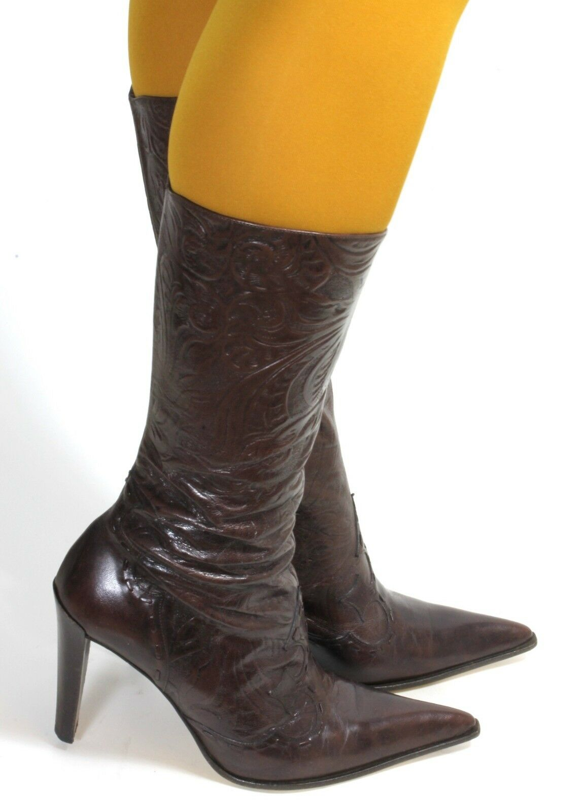 387ec4bb82bfa2 Westernstiefel Westernstiefel Westernstiefel Cowboystiefel Texas Stiefel  High Heels Zipper Braun Damenstiefel 38