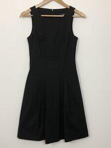CUE-Womens-Black-Sleeveless-A-Line-Pleated-Light-Weight-Workwear-Dress-Size-6