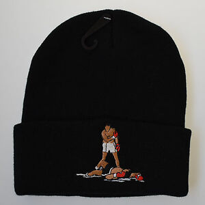 860fa71e5af Actual Fact Muhammad Ali Boxing Roll Up Black Beanie Wooly Hat