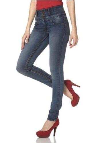 Arizona High Waist Jeans Gr.34-38 NEU Damen Slim Hose Blue Used Stretch Denim