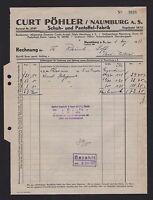 NAUMBURG, Rechnung 1937, Schuh- und Pantoffel-Fabrik Curt Pöhler